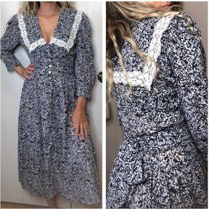 Vintage cottagecore floral lace midi dress